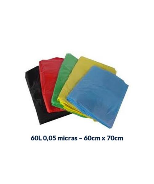 SACO P/ LIXO 60L - 0,05 MICRAS - 60CM X 70CM - 100UNI.