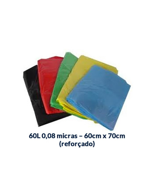 SACO P/ LIXO 60L - 0,08 MICRAS - 60CM X 70CM (REFORÇADO) - 100UNI.