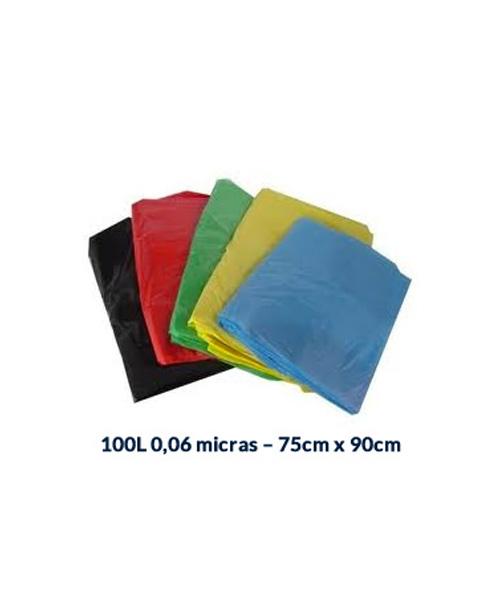 SACO P/ LIXO 100L 0,06 MICRAS - 75CM X 90CM - 100 UNI.
