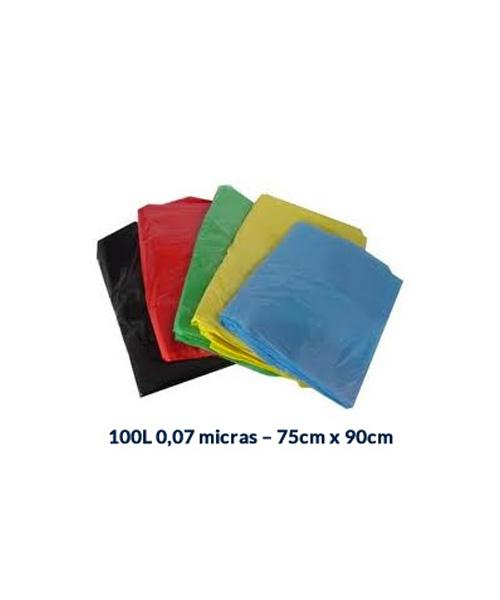 SACO P/ LIXO 100L - 0,07 MICRAS - 75CM X 90CM - 100 UNI.