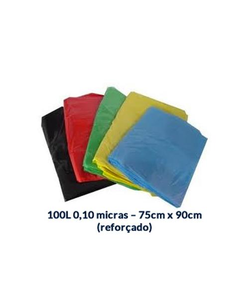 SACO P/ LIXO 100L - 0,10 MICRAS - 75CM X 90CM - 100 UNI.